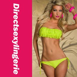 Wholesale Fringe Bandeau - Wholesale-New Arrival Sexy Bikini Swimsuit etchable Halter Bandeau Bikini with Fringe Cheap price Cheap Shipping Drop Shipping