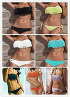 Wholesale Girls Dolly - Wholesale-7 colors Sexy Girl Lady Padded Boho Fringe Top Strapless Dolly Bikini Swimwear + free shipping