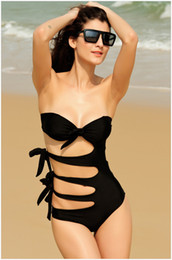 Wholesale Smmer Dresses - Wholesale-new 2015 Fashion Smmer Brand Sexy one piece swimsuit push up swimwear vintage beach dress high waist bathing suits for women