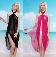 Wholesale Pink Pareo Wrap - Wholesale-2015 New 8 color in stock sexy beach wraps bikini cover up pareo dress, Free Shipping