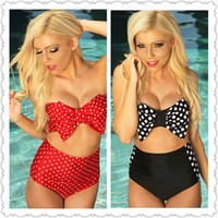 Wholesale Two Piece Bikini Bandeau - Wholesale-Two-pieces bathing suit swimwear Sexy Red & White Polka Dot Bow Bandeau Top High-waisted Swimsuit bikini LC40669 swimsuit