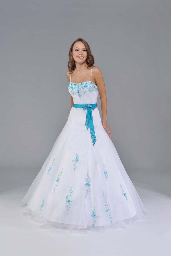 White and blue strap no train organza designer prom for Wedding dress no train
