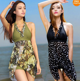 Wholesale Tankini Swimwear Shorts - Wholesale-Women Plus Size 2pc Tankini Top+Shorts Halter Pad Swimsuits Asymmetric Swimwear Sexy