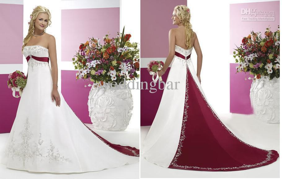White And Burgundy Strapless Embroidery Chapel Train Satin Wedding Dresses Bridal Gown 8071 Flowy Girls From Weddingbar