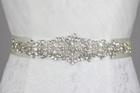 Wholesale Bridal Wedding Belts - Wholesale-Free Shipping High Quality Handmade Dazzling Glass Crystal Rhinestone Czech Stones Bridal Belt Wedding Dress Waistband WH30