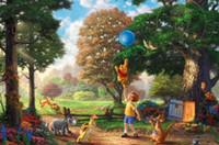 Wholesale Realistic Oil Painting - Wholesale-Winnie The Pooh by Thomas Kinkade Canvas Prints Realistic Oil Painting Printed On Canvas 8x12 12x18 24x36 inches TK112