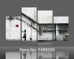 Wholesale Large Paint Canvases - Wholesale-Free shipping Canvas art 4 pieces Large banksy there is always hope modern wall painting home decor print art framed F 378