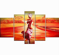 Wholesale Contemporary Homes Pictures - Wholesale- 5 piece red contemporary oil paintings on canvas wall art African woman pictures for living room home decoration F 666