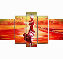 Wholesale Oil Painting African Art - Wholesale- 5 piece red contemporary oil paintings on canvas wall art African woman pictures for living room home decoration F 666