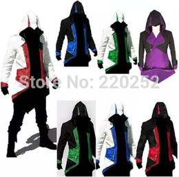 Barato Estilo Assassino Atacado-Brasão Cosplay Hoodie traje Atacado-Assassins Creed 3 III Homens Conner Kenway Hoodie assassinos assassinos pano estilo credo hoodie do credo