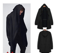 Wholesale B Cardigan - Europe&America style new hoody sweatshirts cloak long sleeves men Shawl outwear streetwear style hoody men's plus long hoodies for men for b