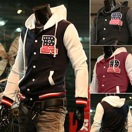 Wholesale Baseball Jackets R - Wholesale-2015 New Spring Letter R Embroidery Hoody Moletons Masculinos Men Hoodies,Baseball Jackets,Sportswear Suit,Man Tracksuits M-XXL