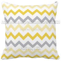 Wholesale Gray Chevron Pillows - Wholesale-Lemon Gray Chevron Decorative Pillow Gold Zigzag V pattern both sides print creative cushion almofadas decoration sofa cushion