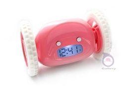Wholesale Digital Alarm Clock Wheels - Wholesale-Cool gadgets Vogue Digital LED Runaway Alarm Clocks With Wheels evader Service clocks desktop table clock