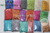 Wholesale Nail Art 24 Colors - Wholesale-24 Laser Holographic Colors 1MM Laser Glitter Spangles for nail design,art and craft accessories 1 Lot =10g*24 colors =240g
