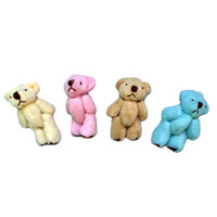 porter des articulations en peluche achat en gros de-Vente en gros-100pcs / lot 4.5cm Mini Joint Bear Bare Joint Bear Poupée Téléphone portable Pendentif Cartoon Peluche Peluche en peluche 4 couleurs à choisir
