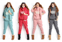 Wholesale Hoodie Vest Women - Wholesale-3PCS Womens Autumn Casual Sports Hoodies Top + Vest + Pants Sweat Suit Tracksuit