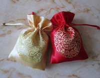 Wholesale Cheap Red Candy - Small Chinese Silk Gold Candy Gift Bag Wedding Favor Cheap Drawstring Empty Tea Pouches Spice Bags Jewelry Packaging 6 size choose 100pcs