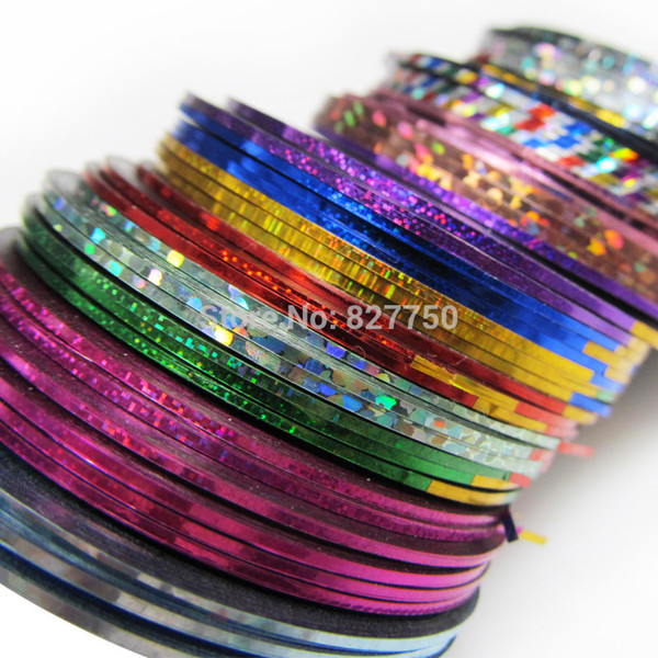top popular Wholesale-30Pcs Lot Mixed Colors Nail Art Tips Decoration Sticker Striping Tape Line High Quality 2019