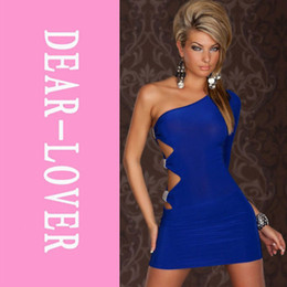 Wholesale One Arm Dresses - Wholesale-Spring and summer GOGO Sexy One Sleeve One Arm Mini Club Dress Blue Black LC2551 irregular high street novelty dresses