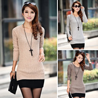 Wholesale Cheapest Sweater Dresses - Wholesale-Cheapest Women Sexy Sweater Dress Medium Long Slim O-Neck Basic Sweater New Style Knitted Sweater Free Size#16 18