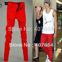 Wholesale Boys Size Skinny Jeans - Wholesale-2015 autumn men jeans slim pencil pants male skinny pants red trousers boys men plus size jeans 25 28 to 33, 34, 36