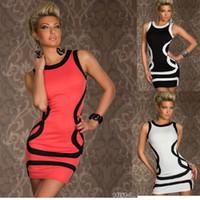 Wholesale Prom Dreeses - Wholesale-M XXL Sexy Dresses Fashion sexy underwear basic stripe sleeveless prom laciness sexy hip slim one-piece dress club dreeses#W057