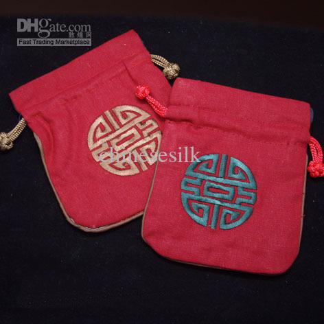Chinese style Embroidery Lucky Small Pouch Cotton Linen Drawstring Jewelry Gift Bag Wedding Favor Candy Packaging Bags 11 x 14cm