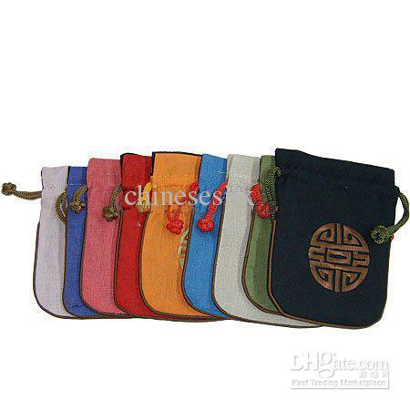 Chinese stijl borduurwerk lucky small pouch katoen linnen trekkoord sieraden cadeau tas bruiloft gunst snoep verpakking tassen 11 x 14cm /
