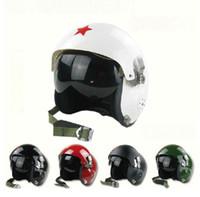 Wholesale Dual Visor Helmets - Wholesale-Red Star Tactical Pilot Motorcycle Motorcross Racing Crash Helmet Dual Visor New