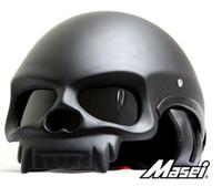 kask nokta motokros toptan satış-Toptan-Ücretsiz kargo 2015 Mat siyah nokta alman kaskları Kişiselleştirilmiş Karbon kask motocross masei kafatası kask Motosiklet yarım kask