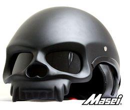 Capacetes de motocicleta personalizados on-line-Wholesale-Free shipping 2015 Matt black dot german helmets Personalized Carbon helmet motocross masei skull helmet Motorcycle half helmet