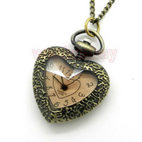 Atacado-Brown Glass Carving Heart Shape Pocket Watch Necklace Pendant Womens Gift