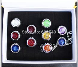Wholesale Mario Key Rings - Wholesale-10PCS Naruto Anel Black Akatsuki Ring Set Sasori Itachi Hidan Deidara AE00060