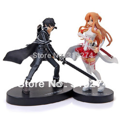 "Wholesale Kirito Asuna Swords - Wholesale-Anime Sword Art Online SAO I Asuna Yuuki Kirito 2pcs Set 6"" Action Figure Loose Free Shipping"