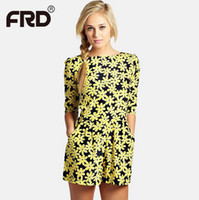 Wholesale Cheap Jumpsuits For Women - Wholesale-flower printed jumpsuits for women fashion half sleeve elegant loose casual female summer romper mono cheap clothes china