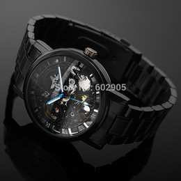 Wholesale Steampunk Wrist Watches - Wholesale-NEW Steampunk Clock Mens Skeleton Automatic Mechanical Black Steel Wrist Watches For Men Self-Winding Mechanical Watch Relogio