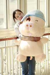 Wholesale Plush Toys Valentines - Wholesale-Giant Huge Big 40'' 100 cm Pig Stuffed Plush Aminal Soft Toy Best Valentine Gift for kids Girlfriend