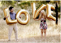 "Wholesale Large Letter Foil Balloons - Wholesale-40"" 101cm Glod 4pcs set For Wedding, Festival Supply New Decoration Mylar Foil Balloon Large Letter ""LOVE"" Full"