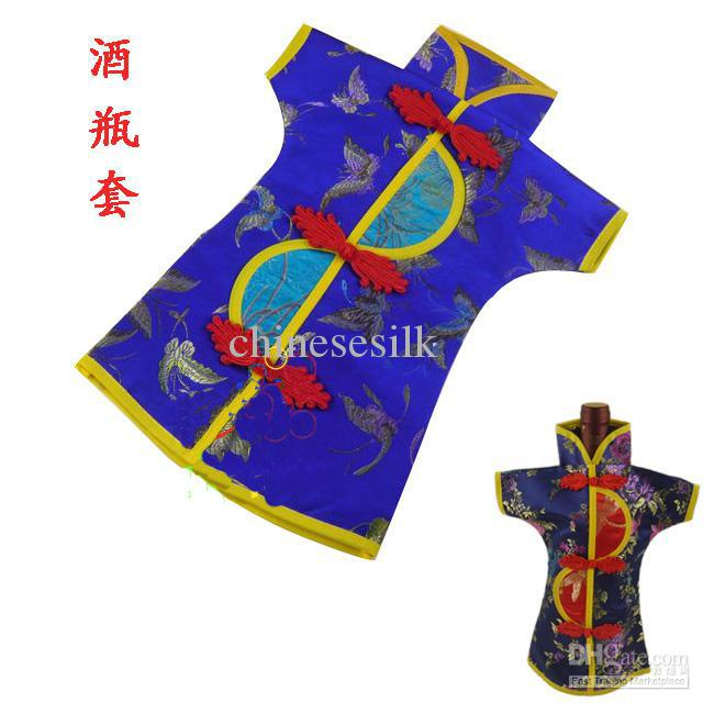 Novelty Chinese style Wedding Wine Bottle Cover Bags Party Table Decoration Silk Fabric Bottle Clothes 10pcs/lot mix color Free shipping
