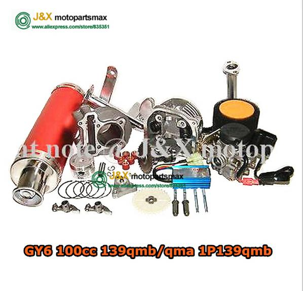 Wholesale-GY6 100cc big bore Power update 30% Big Bore Kit high Performance cdi carb piston rings Exhaust 139QMB Chinese Scooter cylinder