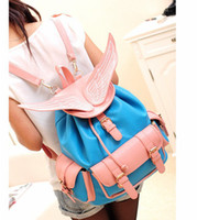 Wholesale Post Backpack - Wholesale-Free Shipping for China Post Fashion Vogue Buckle Embellished Wings Embroidered Backpack BlueLP13081301