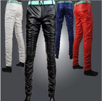Wholesale Men Pu Pants - Wholesale-Hot Streetwear Pu Leather Mens Pants Full Length Hi-fashion Casual Men and Women Pants Black,Red Free Shipping