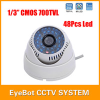 Atacado-700 TVL 48pcs azul IR LED colorida interior CCTV Dome Camera Wide Angle Camera Segurança CMOS Infrared
