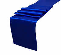 """Wholesale Blue Satin Table Runners - Wholesale- 25PCS Royal Blue Satin Table Runners 12"""" x 108"""" Wedding Party Decorations,party decoration Wholesale,best price Free"""