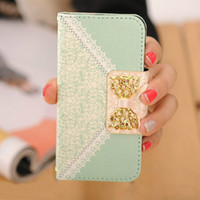 Wholesale Cute Iphone 5s Flip Case - Wholesale-Arrive Fashion Fresh Cute Flip Wallet Leather Case Cover for iPhone 5S 5 5th Freeshipping&Wholesale Kimisohand