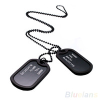 ожерелье для тегов армии оптовых-Wholesale- Army Style Black 2 Dog Tags Chain Mens Pendant Necklace Jewelry items 02IT