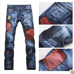 Wholesale Personalized Jeans - Wholesale-New 2015 Personalized Hole patch holes in jeans Fashion jeans Men Free Shipping