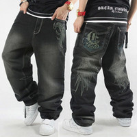 Wholesale Winter Jeans For Men - Wholesale-Autumn Winter Embroidery Icon Oversized Hip Hop Jeans For Men,Casual Baggy Washed Denim Jean Pants Trousers,Plus Size 30-42