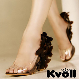 Wholesale Kvoll Sexy Heels - Wholesale-Kvoll Women sandal shoes woman sandals new 2015 sexy ultra high heels open toe butterfly transparent resin summer shoes wedges